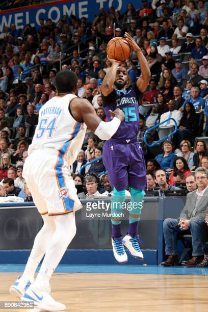 Kemba Walker of the Charlotte Hornets shoots the ball during the game against the Oklahoma City Thunder on December 11 2017 at Chesapeake Energy...
