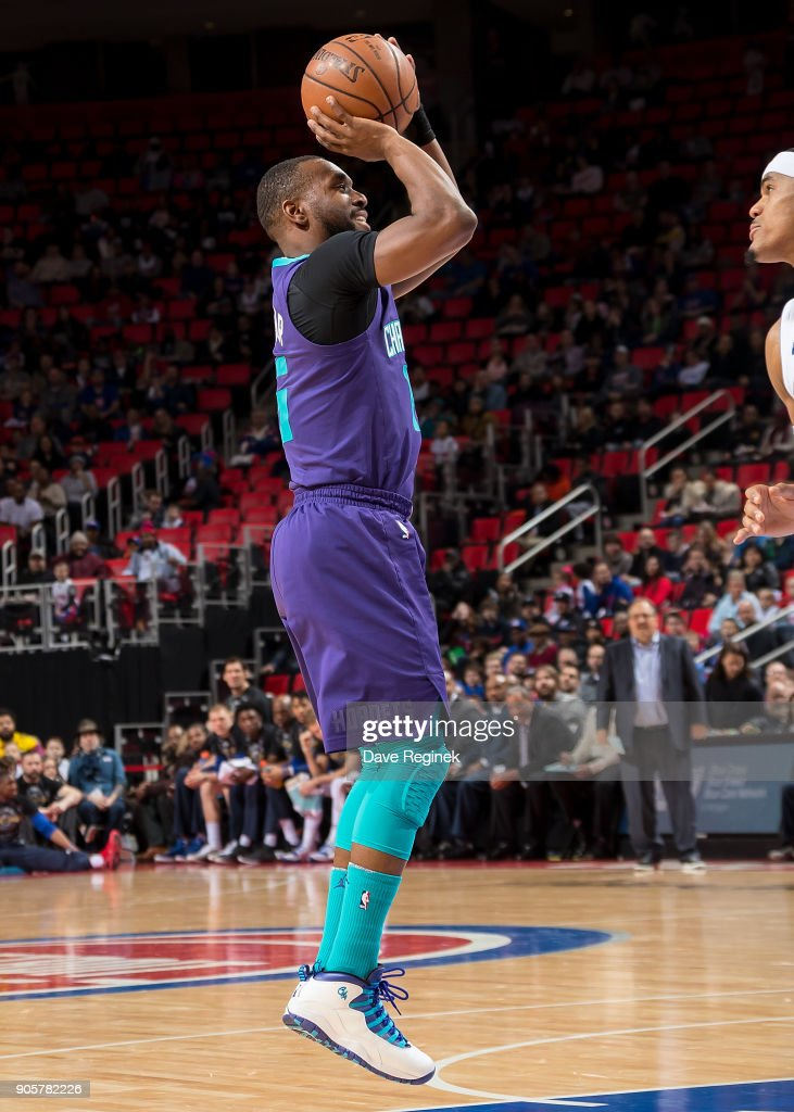 Kemba Walker #15 of the Charlotte Hornets shoots the ball up court against the Detroit Pistons during the an NBA game at Little Caesars Arena on January 15, 2018 in Detroit, Michigan.