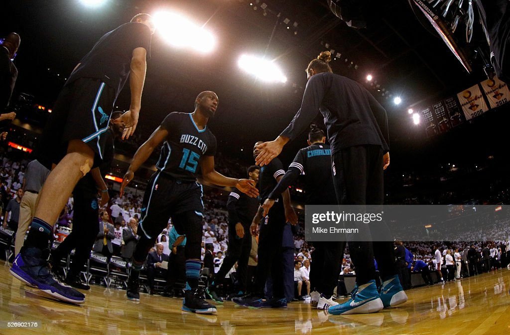 <a gi-track='captionPersonalityLinkClicked' href=/galleries/search?phrase=Kemba+Walker&family=editorial&specificpeople=5042442 ng-click='$event.stopPropagation()'>Kemba Walker</a> #15 of the Charlotte Hornets takes the floor during Game Seven of the Eastern Conference Quarterfinals of the 2016 NBA Playoffs against the Miami Heat at American Airlines Arena on May 1, 2016 in Miami, Florida.