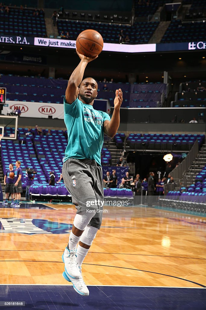 <a gi-track='captionPersonalityLinkClicked' href=/galleries/search?phrase=Kemba+Walker&family=editorial&specificpeople=5042442 ng-click='$event.stopPropagation()'>Kemba Walker</a> #15 of the Charlotte Hornets warms up before Game Six of the Eastern Conference Quarterfinals against the Miami Heat during the 2016 NBA Playoffs on April 29, 2016 at Time Warner Cable Arena in Charlotte, North Carolina.