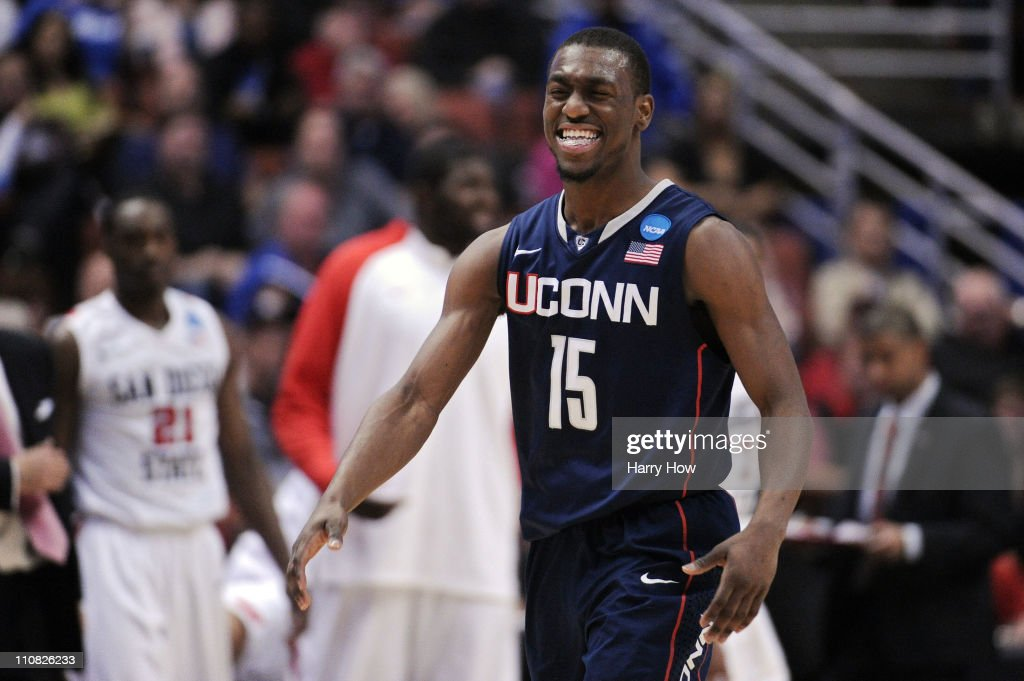 <a gi-track='captionPersonalityLinkClicked' href=/galleries/search?phrase=Kemba+Walker&family=editorial&specificpeople=5042442 ng-click='$event.stopPropagation()'>Kemba Walker</a> #15 of the Connecticut Huskies reacts after a play against the San Diego State Aztecs during the west regional semifinal of the 2011 NCAA men's basketball tournament at the Honda Center on March 24, 2011 in Anaheim, California.