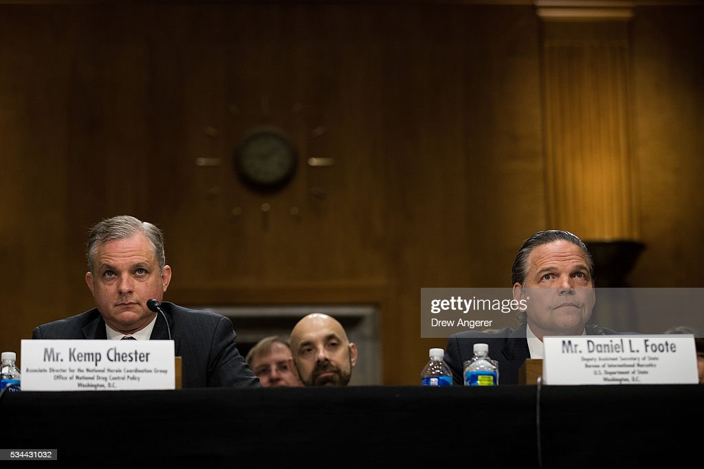 Kemp Chester, associate director for the National Heroin Coordination Group at the Office of National Drug Control Policy, and Daniel Foote, Deputy Assistant Secretary Of State for the Bureau of International Narcotics and Law Enforcement at the U.S. Department of State, testify during a Senate Foreign Relations Committee hearing concerning cartels and the U.S. heroin epidemic, on Capitol Hill, May 26, 2016, in Washington, DC. According to the U.S. Centers for Disease Control and Prevention, from 2002 to 2013 the rate of heroin-related deaths quadrupled in the United States, with most of the increase coming after 2010.