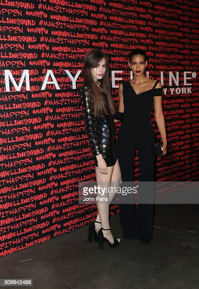 Kemp Muhl and Cris Urena attend Maybelline New York celebrates fashion week at Dream Downtown Hotel on February 12 2016 in New York City