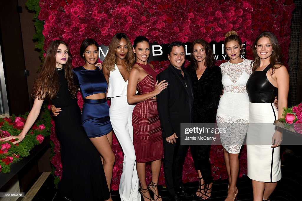 Kemp Muhl, Cris Urena, Jourdan Dunn, Adriana Lima, Global Brand President Global Brand President Leonardo Chavez , Christy Turlington, Gigi Hadid and Emily DiDonato attend Maybelline New York Celebrates New York Fashion Week at Sixty Five on September 13, 2015 in New York City.