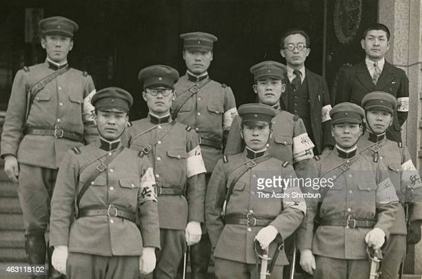 Kempei military police officers stand guard at the Martial Law headquarters set at the Gunjin Kaikan hall during the February 26 Incident on February...
