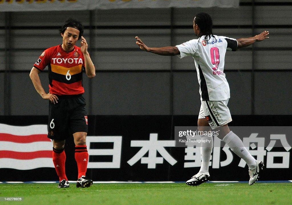 Kempes of Cerezo Osaka celebrates scoring the first goal during the JLeague match between Nagoya Grampus and Cerezo Osaka at Toyota Stadium on May 25...