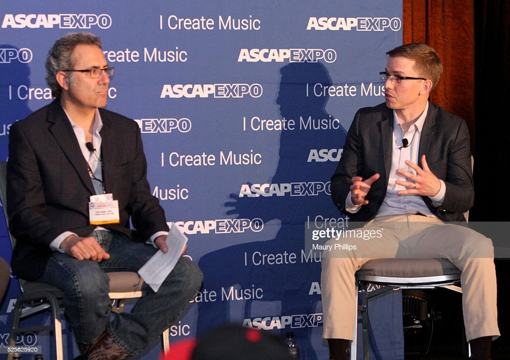 Ken Abdo (L) and moderator Alex Grout speak onstage at the 2016 ASCAP 'I Create Music' EXPO on April 28, 2016 in Los Angeles, California.