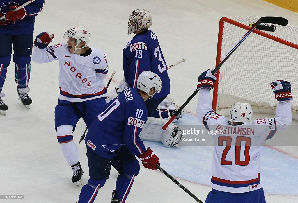 Ken Andre Olimb of Norway score a goal during the 2014 IIHF World Championship between France and Norway at Chizhovka arena ,on may 17,2014 in Minsk, Belarus.