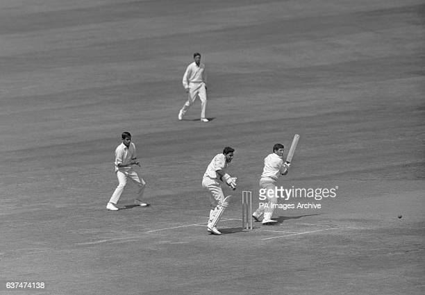 Ken Barrington cuts a ball from Bhagwat Chandrasekhar down to third man Indian wicketkeeper Farokh Engineer looks on