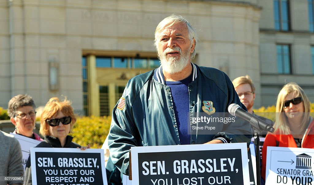 Ken Blackledge, of Nevada, Iowa, speaks outside the Iowa Justice Building at a MoveOn.org event named 'Senator Grassley, Do Your Job Or Lose The Respect And Votes' on May 3, 2016 in Des Moines, Iowa.