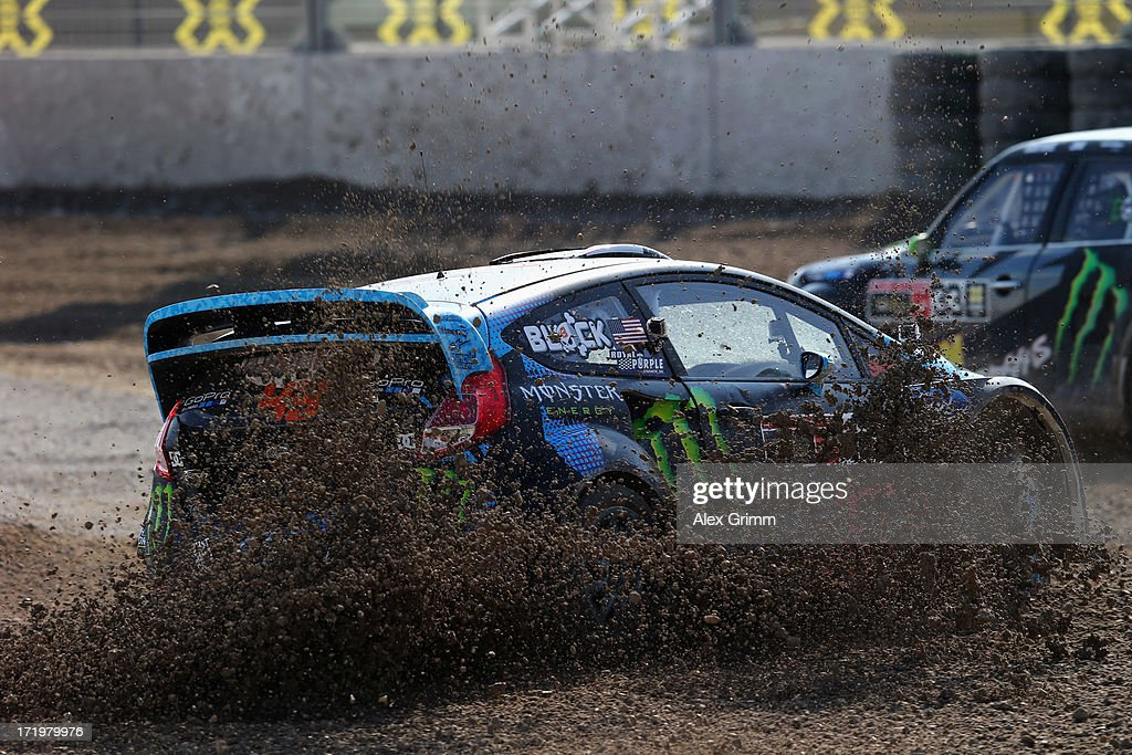 <a gi-track='captionPersonalityLinkClicked' href=/galleries/search?phrase=Ken+Block&family=editorial&specificpeople=1280115 ng-click='$event.stopPropagation()'>Ken Block</a> of the United States competes in the Ford RallyCross competition on Day 4 of the X-Games at FroettmaRing on June 30, 2013 in Munich, Germany.