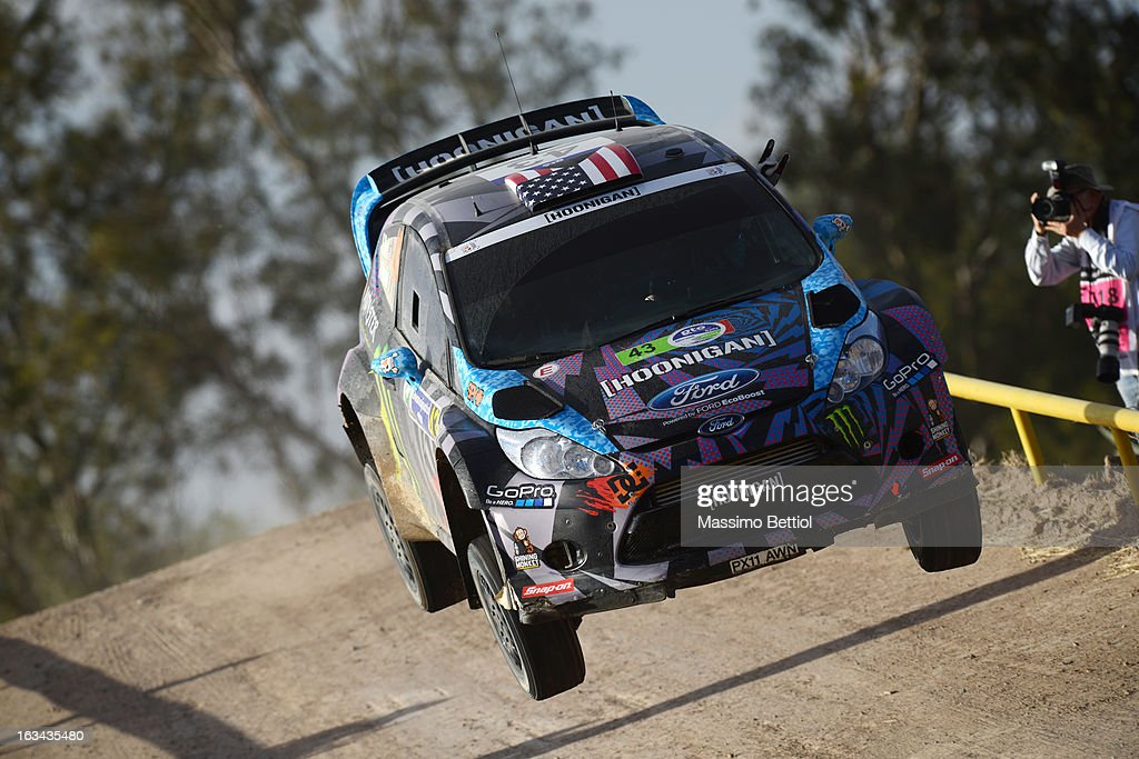 <a gi-track='captionPersonalityLinkClicked' href=/galleries/search?phrase=Ken+Block&family=editorial&specificpeople=1280115 ng-click='$event.stopPropagation()'>Ken Block</a> of USA and <a gi-track='captionPersonalityLinkClicked' href=/galleries/search?phrase=Alex+Gelsomino&family=editorial&specificpeople=1280114 ng-click='$event.stopPropagation()'>Alex Gelsomino</a> of USA compete in their Hoonigan Racing Division Ford Fiesta RS WRC during Day Two of the WRC Mexico on March 09, 2013 in Leon, Mexico.