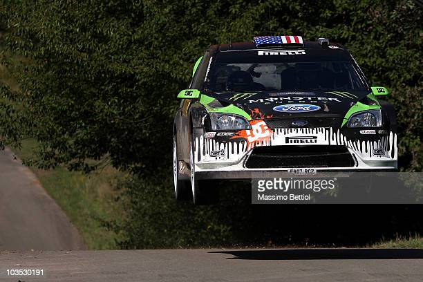 Ken Block of USA and Alex Gelsomino of USA compete in their Monster World Rally Team Ford Focus during Leg 2 of the WRC Rally of Germany on August 21...