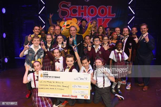 Ken Bruce Andrew Lloyd Webber and the cast from School of Rock attend the BBC Radio 2 Children In Need Gala hosted by 'School Of Rock The Musical' at...