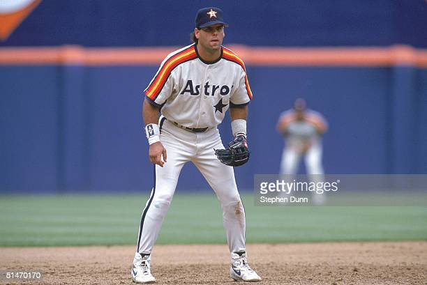 Ken Caminiti of the Houston Astros looks focuses on home plate as he prepares for a play during a game against the San Diego Padres at Jack Murphy...