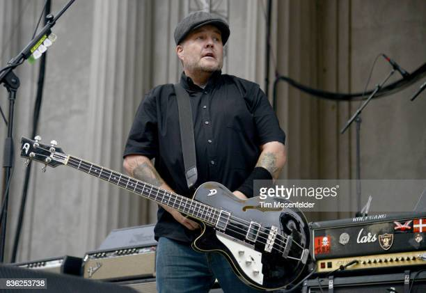 Ken Casey of Dropkick Murphys performs during the 'From Boston to Berkeley' tour at University of California Berkeley on August 20 2017 in Berkeley...