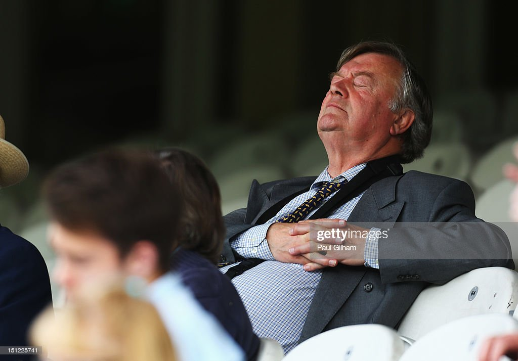 Ken Clarke sits the stands during day one of the LV County Championship Division One match between Surrey and Nottinghamshire at The Kia Oval on...