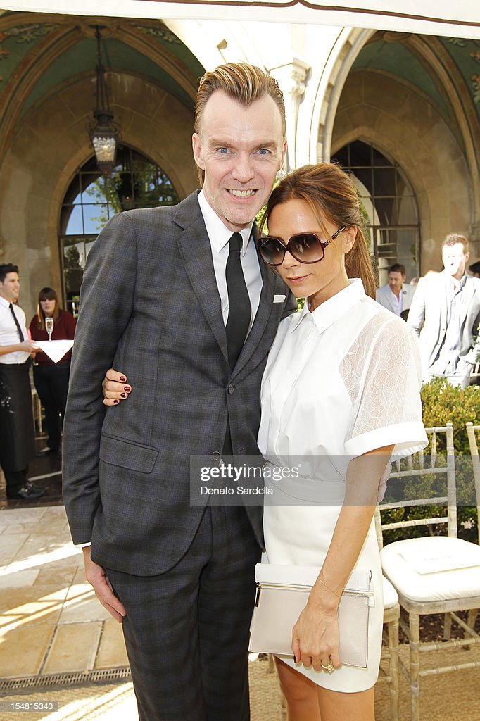 Ken Downing and designer <a gi-track='captionPersonalityLinkClicked' href=/galleries/search?phrase=Victoria+Beckham&family=editorial&specificpeople=161100 ng-click='$event.stopPropagation()'>Victoria Beckham</a> attend CFDA/Vogue Fashion Fund Event hosted by Lisa Love and Mark Holgate at Chateau Marmont on October 25, 2012 in Los Angeles, California.