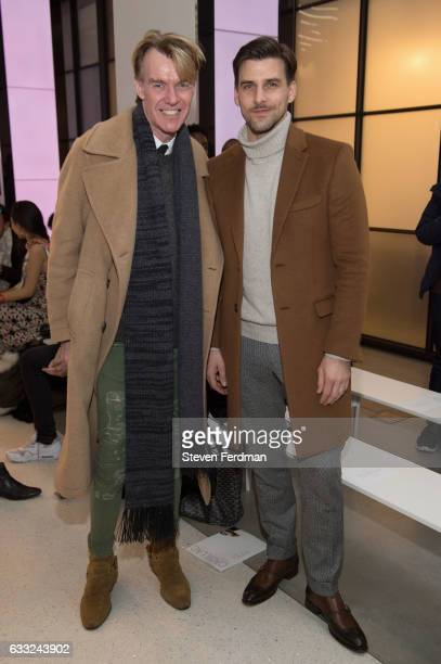 Ken Downing and Johannes Huebl attend Brett Johnson Front Row NYFW Men's at Cadillac House on January 31 2017 in New York City