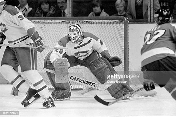 Ken Dryden of the Montreal Canadiens guards the net during a game against the Philadelphia Flyers circa 1976 in Montreal Quebec Canada
