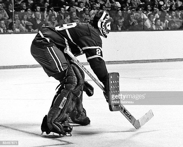 Ken Dryden of the Montreal Canadiens tends goal in game at Boston Garden