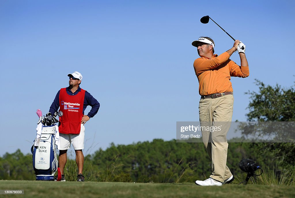 <a gi-track='captionPersonalityLinkClicked' href=/galleries/search?phrase=Ken+Duke&family=editorial&specificpeople=2551619 ng-click='$event.stopPropagation()'>Ken Duke</a> hits a drive on the 14th hole during the final round of the Nationwide Tour Championship at Daniel Island Club on October 30, 2011 in Daniel Island, South Carolina.