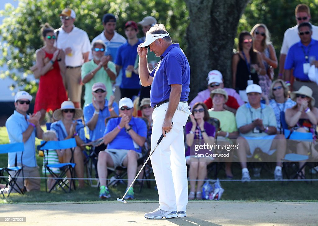 <a gi-track='captionPersonalityLinkClicked' href=/galleries/search?phrase=Ken+Duke&family=editorial&specificpeople=2551619 ng-click='$event.stopPropagation()'>Ken Duke</a> of the United States reacts after putting for birdie on the ninth green during the third round of THE PLAYERS Championship at the Stadium course at TPC Sawgrass on May 14, 2016 in Ponte Vedra Beach, Florida.