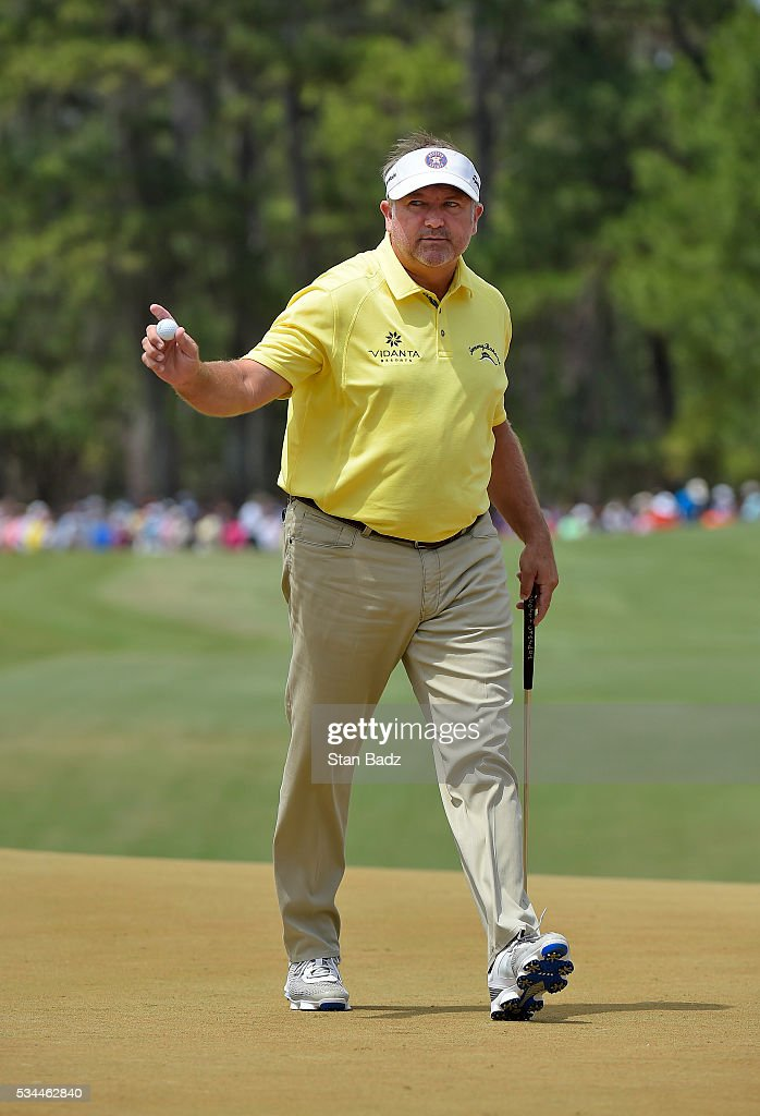 <a gi-track='captionPersonalityLinkClicked' href=/galleries/search?phrase=Ken+Duke&family=editorial&specificpeople=2551619 ng-click='$event.stopPropagation()'>Ken Duke</a> reacts after sinking his putt on the second green during the final round of THE PLAYERS Championship on THE PLAYERS Stadium Course at TPC Sawgrass on May 15, 2016.