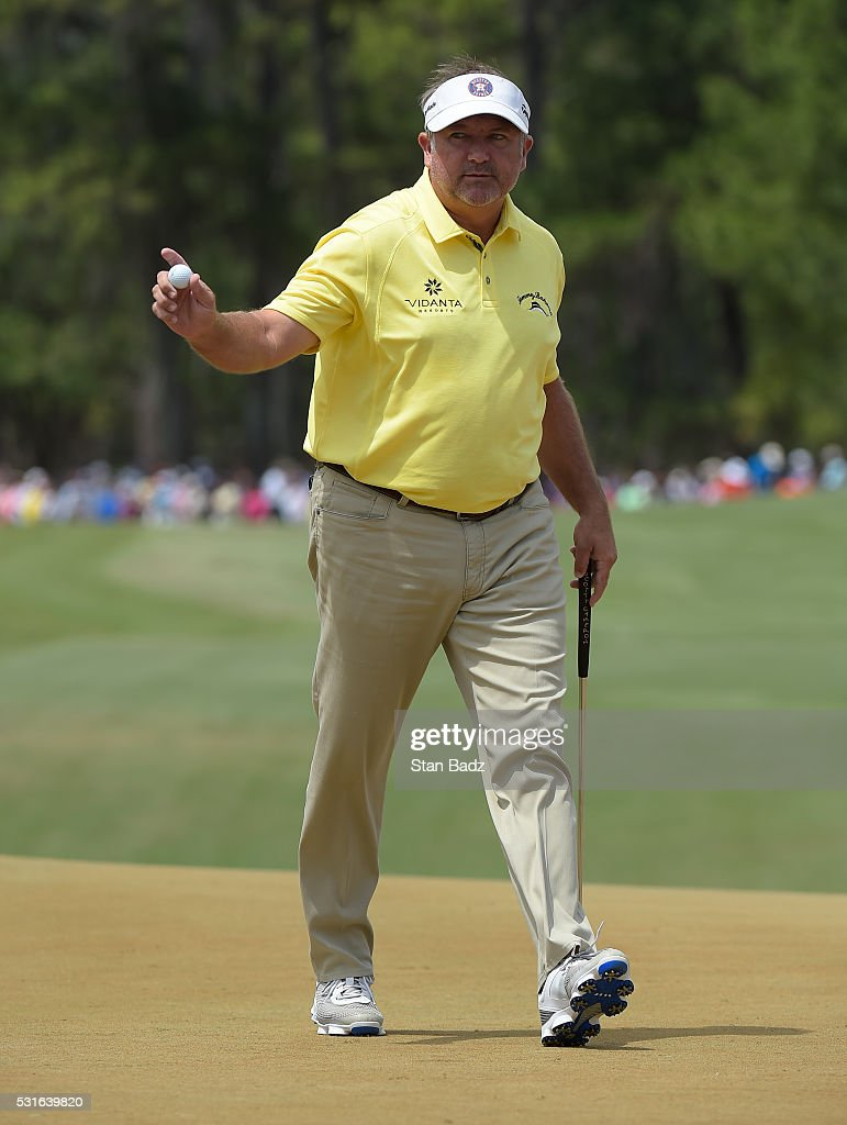<a gi-track='captionPersonalityLinkClicked' href=/galleries/search?phrase=Ken+Duke&family=editorial&specificpeople=2551619 ng-click='$event.stopPropagation()'>Ken Duke</a> reacts after sinking his putt on the third green during the final round of THE PLAYERS Championship on THE PLAYERS Stadium Course at TPC Sawgrass on May 15, 2016.