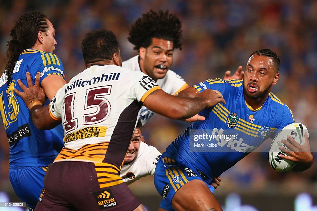 Ken Edwards of the Eels is tackled during the round one NRL match between the Parramatta Eels and the Brisbane Broncos at Pirtek Stadium on March 3, 2016 in Sydney, Australia.