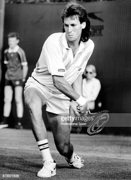 Ken Flach of the United States in action during the Wimbledon Championships held at the All England Lawn Tennis and Croquet Club in Wimbledon London...
