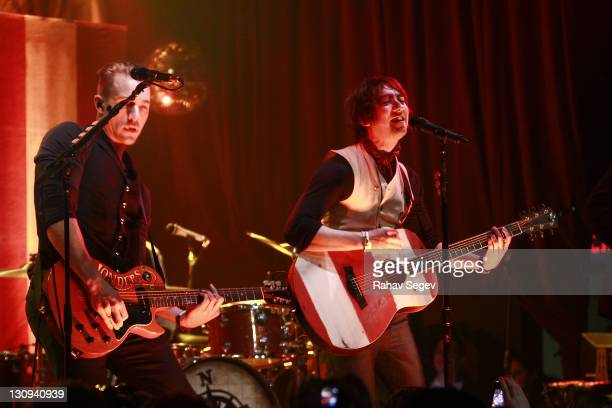 Ken Fletcher and Tom Higgenson of Plain White T's perform at Highline Ballroom on February 22 2011 in New York City