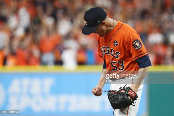 Ken Giles of the Houston Astros celebrates their 2 to 1 win over the New York Yankees during game one of the American League Championship Series at...