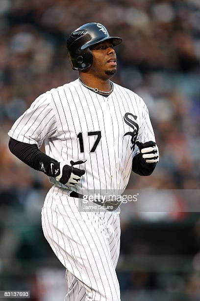 Ken Griffey Jr #17 of the Chicago White Sox runs to first after he walked in the bottom of the sixth inning against the Tampa Bay Rays in Game Three...