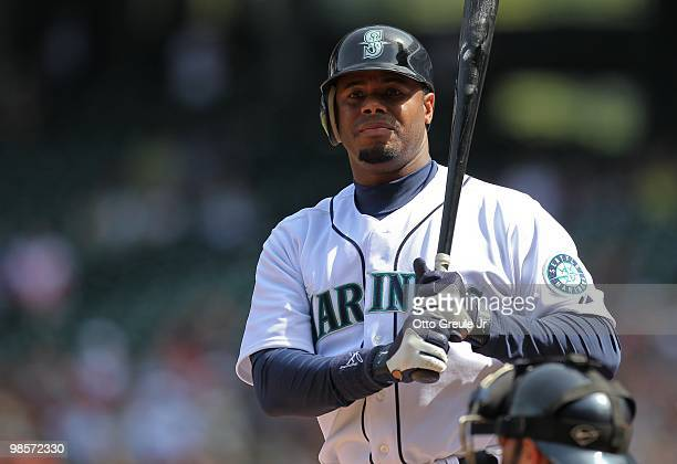 Ken Griffey Jr #24 of the Seattle Mariners bats against the Detroit Tigers at Safeco Field on April 18 2010 in Seattle Washington
