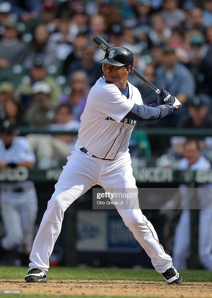 Ken Griffey Jr. #24 of the Seattle Mariners bats against the Detroit Tigers at Safeco Field on April 18, 2010 in Seattle, Washington.