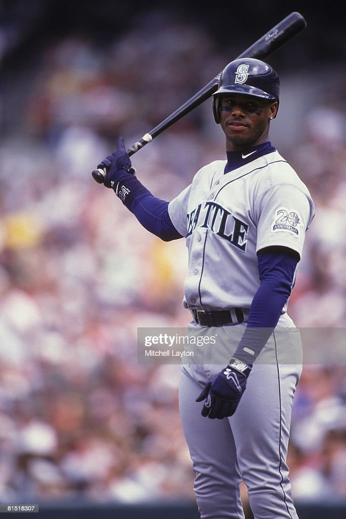 Ken Griffey Jr. #24 of the Seattle Mariners bats during a baseball game against the Baltimore Orioles on August 1, 1987 at Memorial Stadium in Baltimore, Maryland.