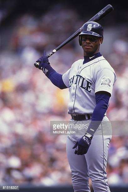 Ken Griffey Jr #24 of the Seattle Mariners bats during a baseball game against the Baltimore Orioles on August 1 1987 at Memorial Stadium in...
