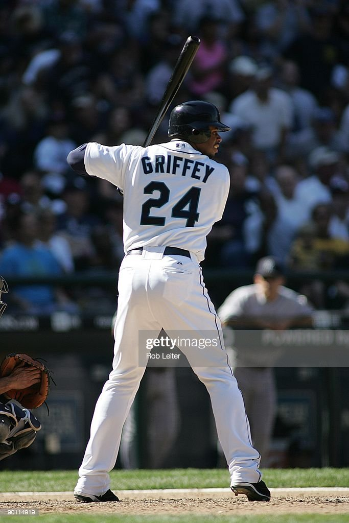 <a gi-track='captionPersonalityLinkClicked' href=/galleries/search?phrase=Ken+Griffey+Jr.&family=editorial&specificpeople=171573 ng-click='$event.stopPropagation()'>Ken Griffey Jr.</a> #24 of the Seattle Mariners bats during the game against the New York Yankees at Safeco Field on August 16, 2009 in Seattle, Washington. The Mariners defeated the Yankees 10-3.