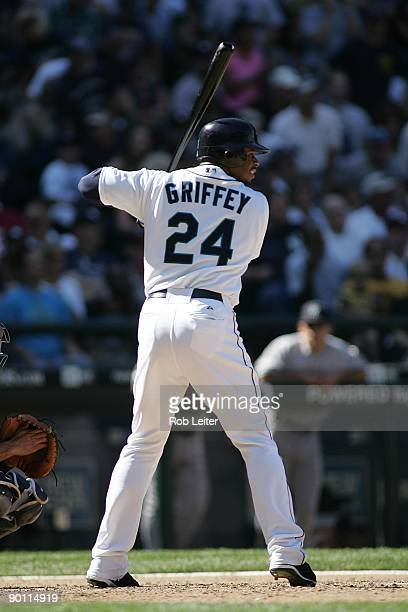 Ken Griffey Jr #24 of the Seattle Mariners bats during the game against the New York Yankees at Safeco Field on August 16 2009 in Seattle Washington...