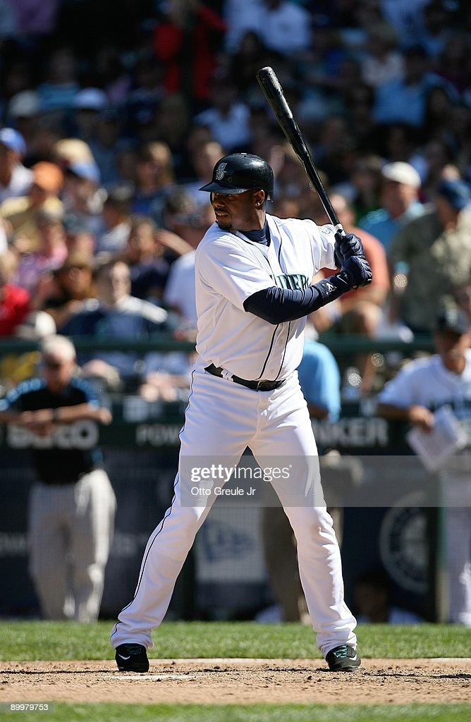 <a gi-track='captionPersonalityLinkClicked' href=/galleries/search?phrase=Ken+Griffey+Jr.&family=editorial&specificpeople=171573 ng-click='$event.stopPropagation()'>Ken Griffey Jr.</a> #24 of the Seattle Mariners bats during the MLB game against the New York Yankees on August 16, 2009 at Safeco Field in Seattle, Washington. The Mariners defeated the Yankees 10-3.