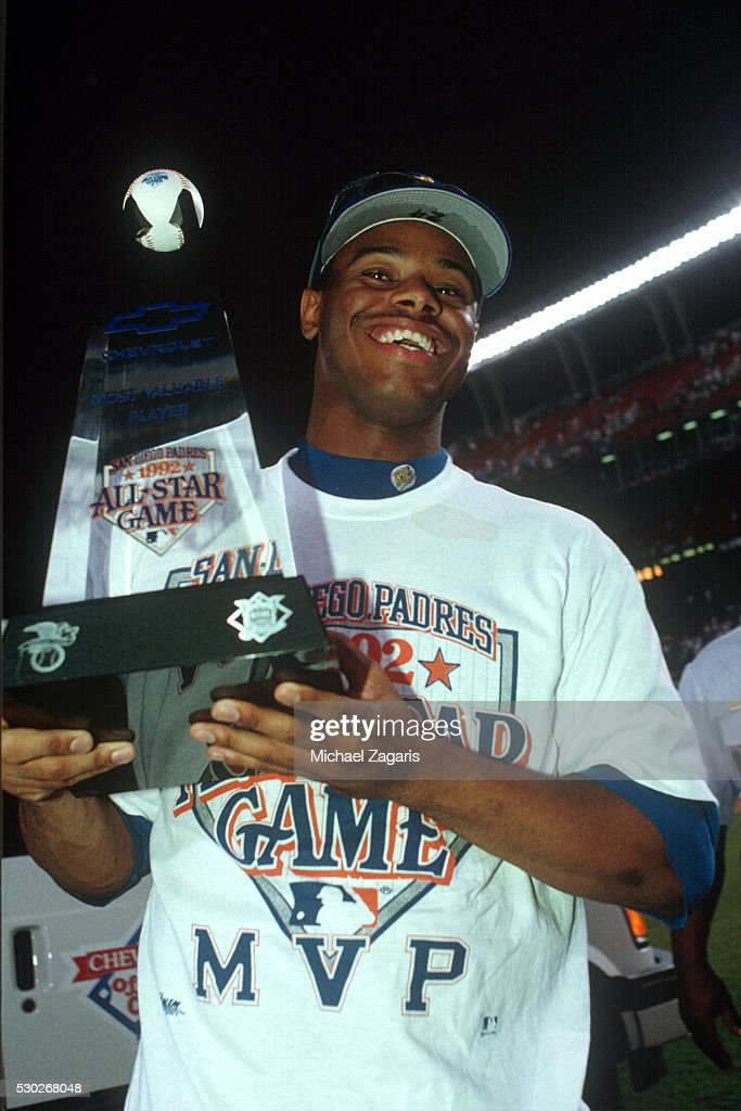 <a gi-track='captionPersonalityLinkClicked' href=/galleries/search?phrase=Ken+Griffey+Jr.&family=editorial&specificpeople=171573 ng-click='$event.stopPropagation()'>Ken Griffey Jr.</a> #24 of the Seattle Mariners poses with the MVP trophy after the 63rd Major League Baseball All-Star Game at Jack Murphy Stadium on Tuesday, July 14, 1992 in San Diego, California.