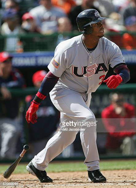 Ken Griffey Jr #3 of Team USA hits a RBI single against Team South Africa during the fourth inning of the Round 1 Pool B Game of the World Baseball...