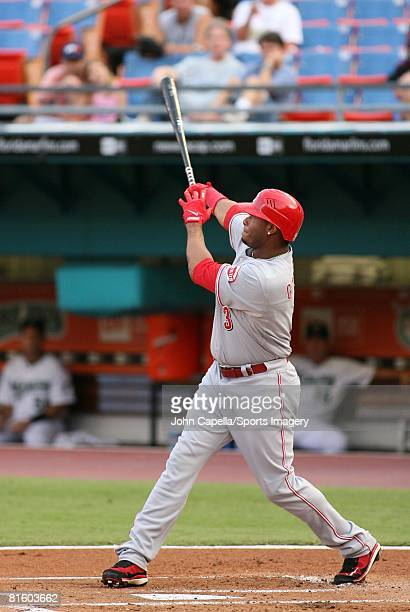 Ken Griffey Jr #3 of the Cincinnati Reds hits home run during a MLB game against the Florida Marlins on June 9 2008 in Miami Florida