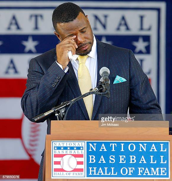 Ken Griffey Jr fights back tears as he speaks at Clark Sports Center during the Baseball Hall of Fame induction ceremony on July 24 2016 in...