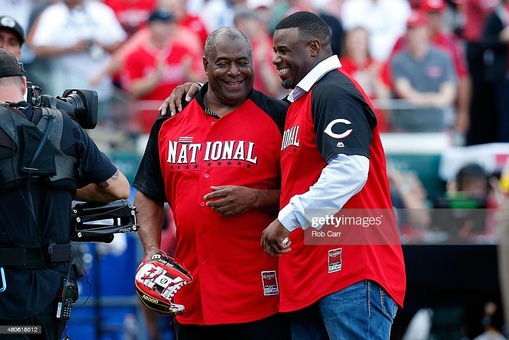 Ken Griffey Jr. (R) hugs his father Ken Griffey Sr. after throwing out the first pitch prior to the Gillette Home Run Derby presented by Head & Shoulders at the Great American Ball Park on July 13, 2015 in Cincinnati, Ohio.