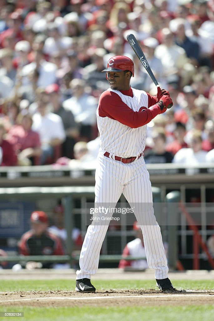 Ken Griffey Jr. of the Cincinnati Reds bats at the Great American Ballpark on April 4, 2005 in Cincinnati, Ohio. The Reds defeated the Mets 7 - 6.