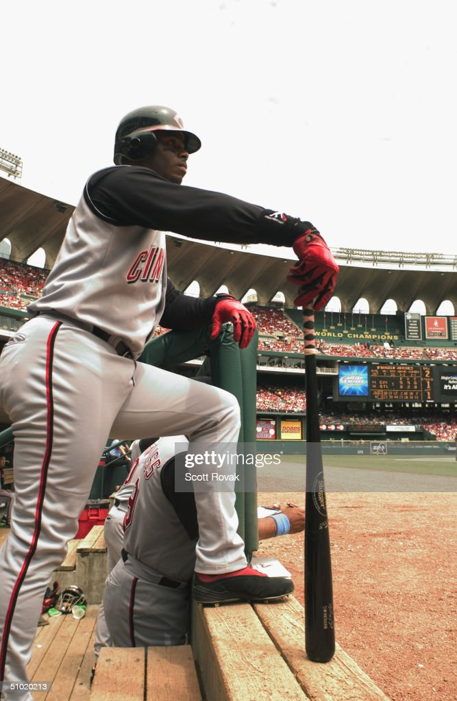 Ken Griffey Jr #30 of the Cincinnati Reds looks on during the MLB game against the St. Louis Cardinals at Busch Stadium on June 20, 2004 in St. Louis, Missouri. The Reds defeated the Cardinals 6-0.