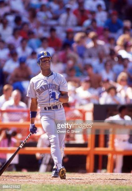Ken Griffey Jr of the Seattle Mariners bats against the California Angels at the Big A circa 1989 in AnaheimCalifornia