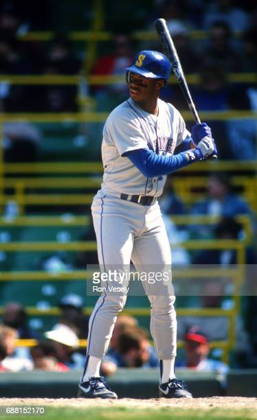 Ken Griffey Jr of the Seattle Mariners bats against the Chicago White Sox during a game at Comiskey Park in Chicago Illinois